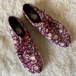 Vans Lo Pro Hawaiian Ocean Red Floral Sneakers
